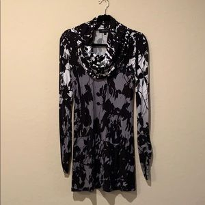 Karen Kane long sleeve black floral dress!